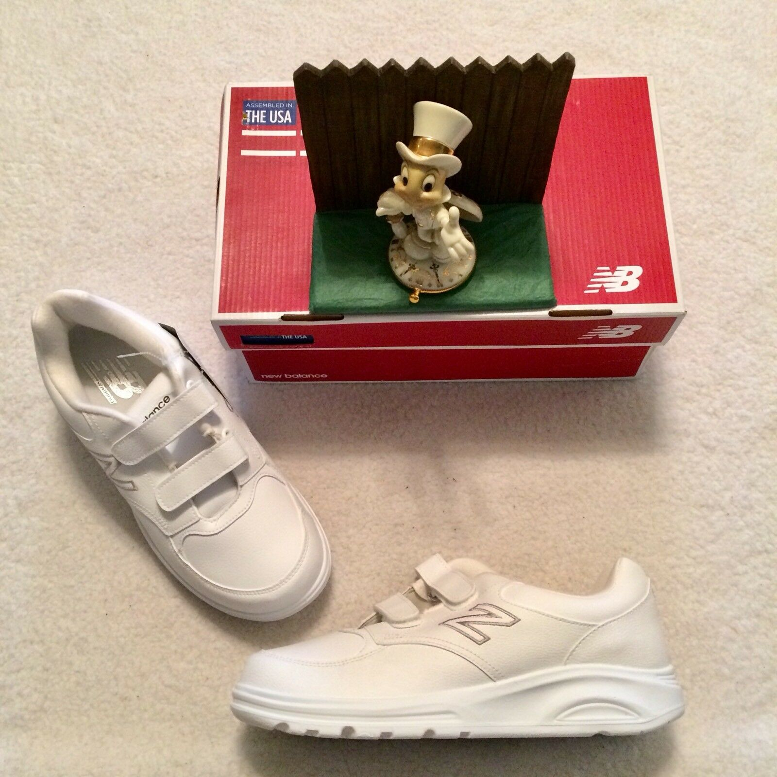 Para Hombre Caminar 674 New Balance Gancho y Lazo Zapatos Nuevo..  Blanco 10/44 4E Nuevo.. Zapatos x ancho 1327e5