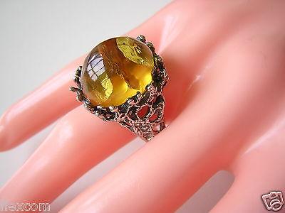 Fine Jewelry Antiker Ring Silber Mit Honig Bernstein Cabochon 20,6 Mm 7,6 G Massiv Amber Jewelry & Watches