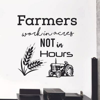 I Work In Acres Not Hours Wall Decal   Family and Living Room  Farming Quotes  Farmhouse  Removeable Wall Art  Vinyl Wall Decals
