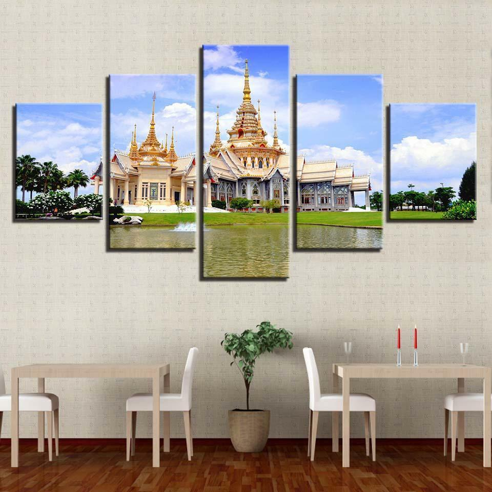 Thai Temple 5 panel canvas Wall Art Home Decor Poster Print