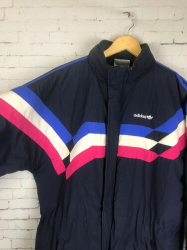 Vintage Winter Retro Adidas Logo L Xl Jacket Puffer taglia UOpxA