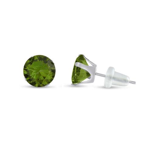 10K solide or blanc Round Cut Vert Olive zircon cubique boucles d/'oreille-Choisissez votre taille