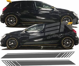 Mercedes-A45-A-Class-W176-AMG-Line-A160-Side-stripe-Decals-Stickers-Any-colour