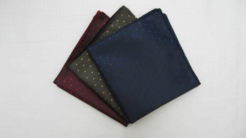 3x Mens Pin Dot Silk Satin Pocket Square//Handkerchief-Navy,Burgundy,Bronze,Gold