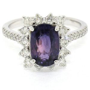 14K-White-Gold-3-85ctw-GIA-NO-HEAT-Color-Change-Purple-Sapphire-Diamond-Ring