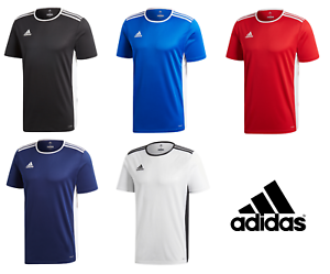 Adidas-Entrada-Boys-Junior-Kids-Climalite-Crew-Sports-Gym-Football-T-Shirt-Top