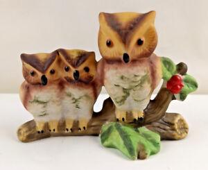 Mother-amp-Baby-Owls-Figurine-Statue-Ceramic-Porcelain-Vintage-1985