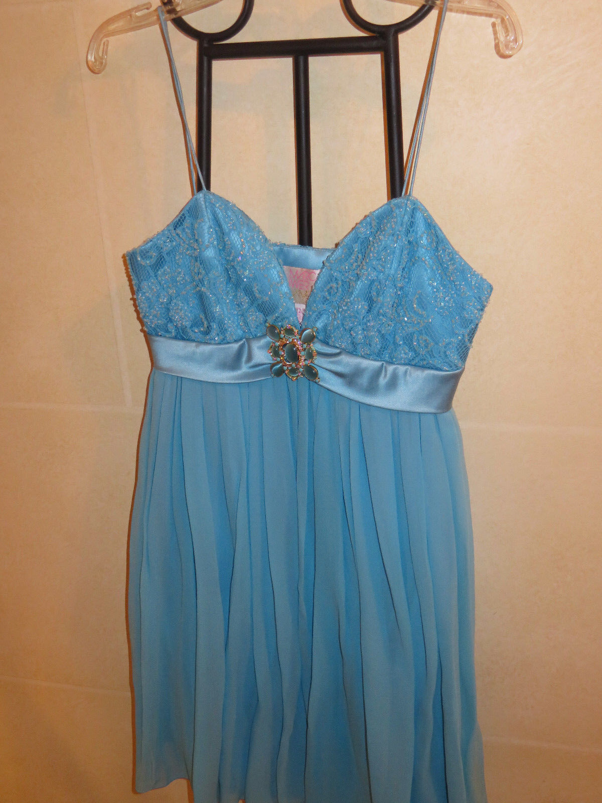 Marc Bouwer Glamit 100% Silk Turquoise bluee Dress, Size 0, BRAND NEW