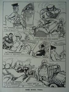 Details about c1909 MOTOR CAR - SOME WHEEL POSES Original Punch Cartoon