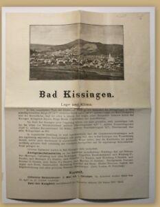 ORIG-folleto-Bad-Kissingen-para-1880-balneario-viaje-ortskunde-Hessen-clima-SF