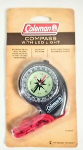 Coleman Compass with LED Light, Red Lanyard, Hiking, Camping FREE SHIPPING