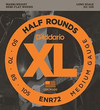 D'ADDARIO ENR72 HALF ROUNDS BASS STRINGS, MEDIUM GAUGE 4's - 50-105