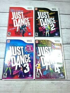 Just Dance Nintendo Wii 1 2 3 4 Game Bundle Complete ~  4 Games ~ 2009 - 2012