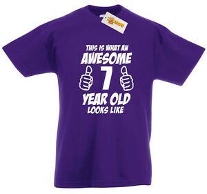 Image Is Loading Awesome 7 Year Old T Shirt 7th Birthday