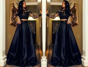 Elegant two piece evening dresses long sleeve appliques party prom