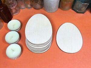 WOODEN EGG Shapes 5cm FLAT x10 wood easter cutouts craft shape blanks