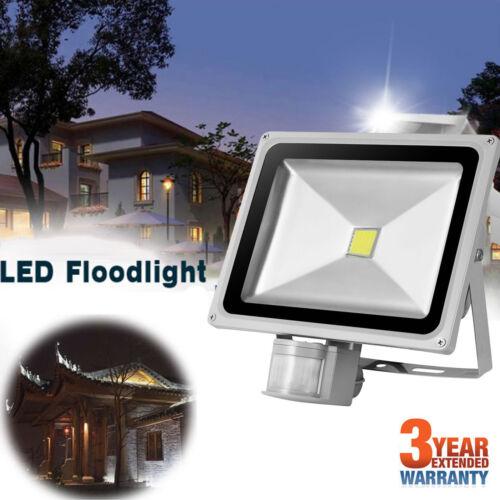 Cool White PIR Motion Sensor LED Floodlight 30W 50W Security Light Daylight Lamp