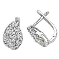 Diamond Stud Earrings White Gold Premium Diamond Earrings Pave Leverback 0.50ct