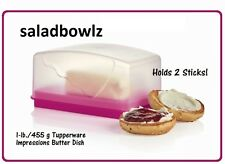 TUPPERWARE 1 lb IMPRESSIONS BUTTER DISH w/ COVER FUCHSIA KISS PINK Double Stick