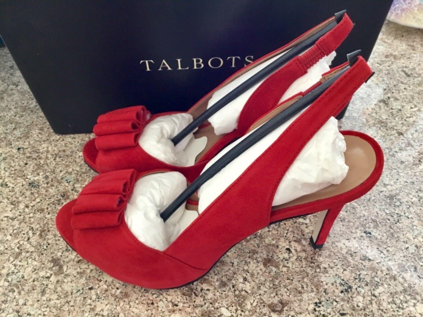 NEW Talbots 4 Vanesa Slingback ROT Suede 4 Talbots inch Heels Größe 8 M NIB 2a4903