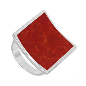 925-Sterling-Silver-Square-Coral-Gemstone-Solitaire-Ring-Size-4-5-9