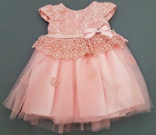 Peach Pearl Flower Girl Bridesmaid Christening Birthday Formal Party Dress 0-12y