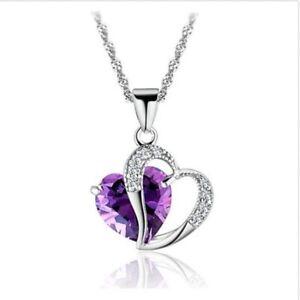 Mode-Amethyst-Halskette-Zirkon-Pfirsich-Herz-Kristall-Anhaenger-Halskette