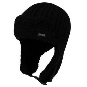 Trapper-Lonsdale-Spar-2-Winter-Hat-Mens-Beanie-Black-Winter-London-Knitted-New