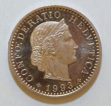 Suiza/Suiza/Helvetia: 20 Rappen moneda desde 1993 B AUNC. Camafeo.! Raro!