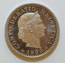 SWITZERLAND / SWISS / HELVETIA: 20 Rappen coin since 1993 B AUNC. Cameo. Rare!