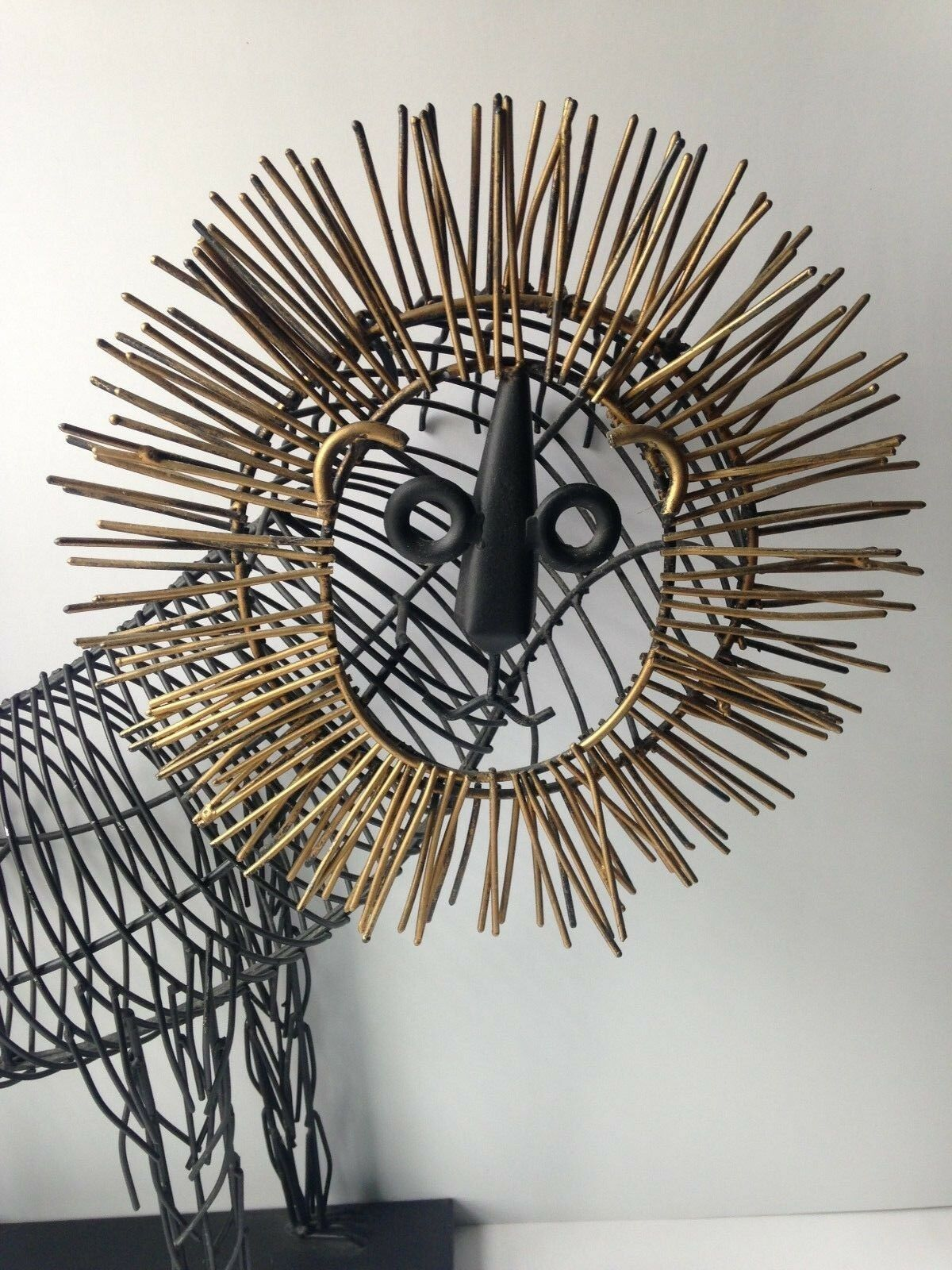 Style of Curtis Jere Brutalist Metal Wire Art Modern Lion Sculpture ...