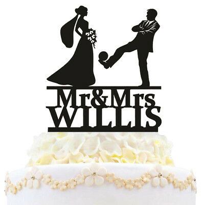Personalized Mr and Mrs Wedding Cake Topper Baseball Bride And Groom Silhouette