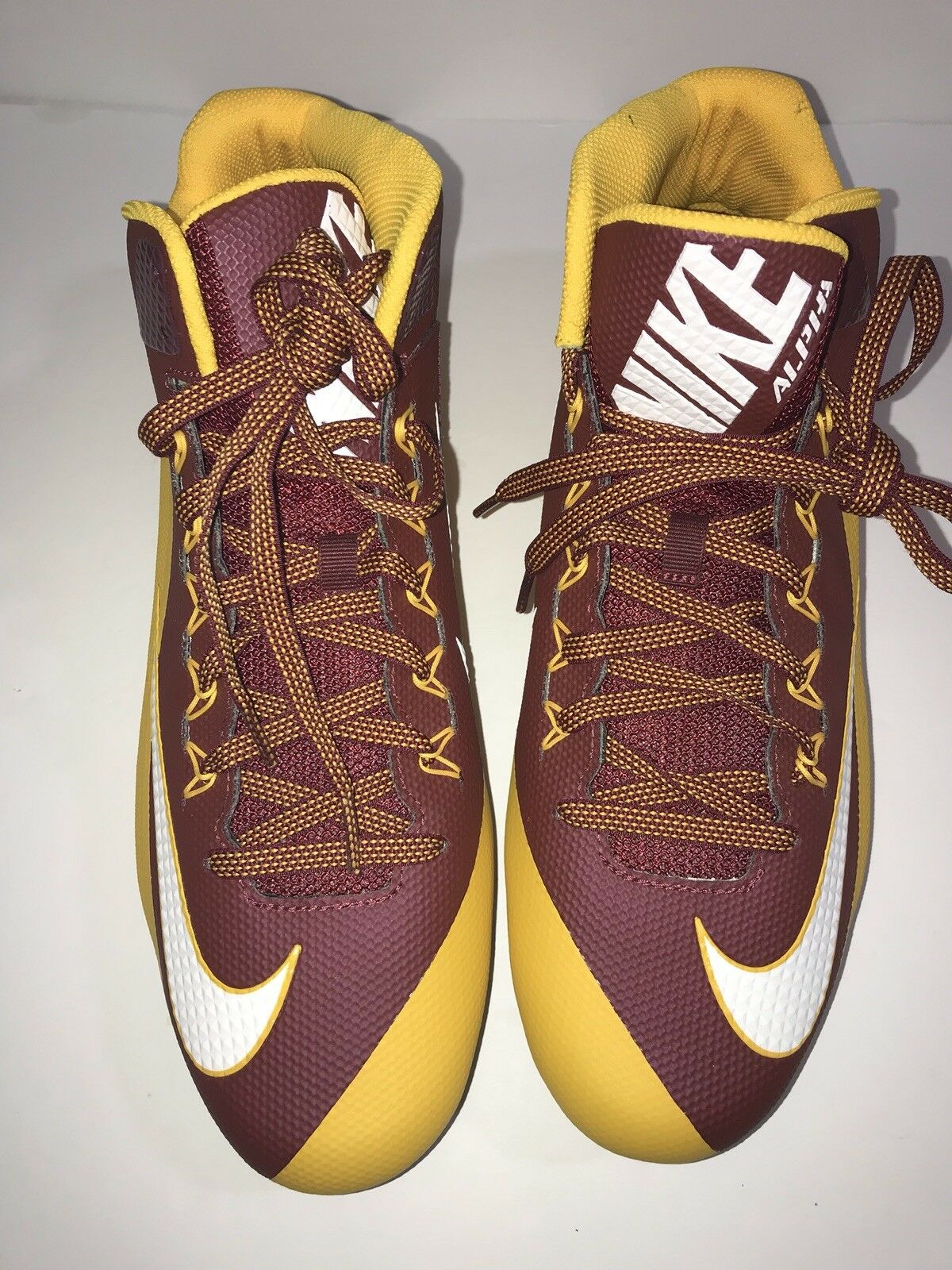 NIKE ALPHA PRO 2 mid td football cleats maroon yellow men's size 15 pre owned