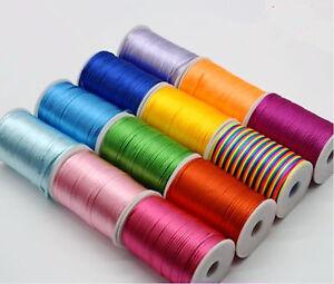 2mm Satin Rattail Trim Pure Color Macrame Beading Nylon Necklace DIY String Cord