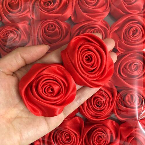 """Lot 50pc rouge 50 mm 2/"""" ruban satin rose Fleurs À faire soi-même Mariage Bouquet Décoration"""