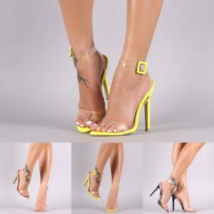 8571033fedd6 open toe Lucite Transparent Ankle Clear Strap High Stilettos Heels ...