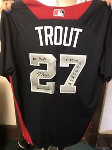 new arrival 750a7 956b9 Details about 2018 Mike Trout Game Used BP ASG Jersey Inscribed Signed STUD  5 TOOL PLAYER 1/1