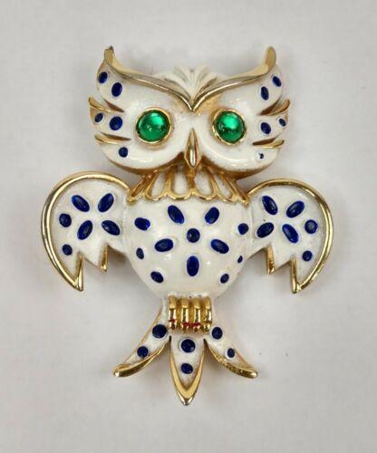 White /& Green prong Set Rhinestones Vintage Hobe Owl Brooch