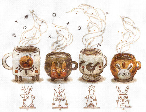 """/""""Coffee Keepers/"""" Counted Cross Stitch Kit MAKE YOUR OWN HANDS C-05"""