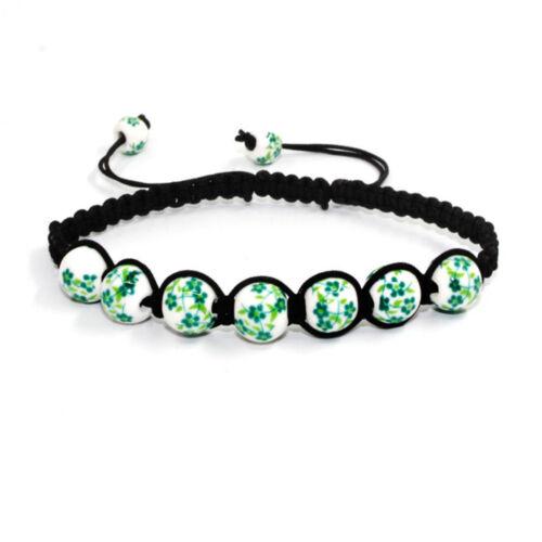 Bohème céramique Wrap tricot Cuir Bracelet Verre Cristal Gemme Perles
