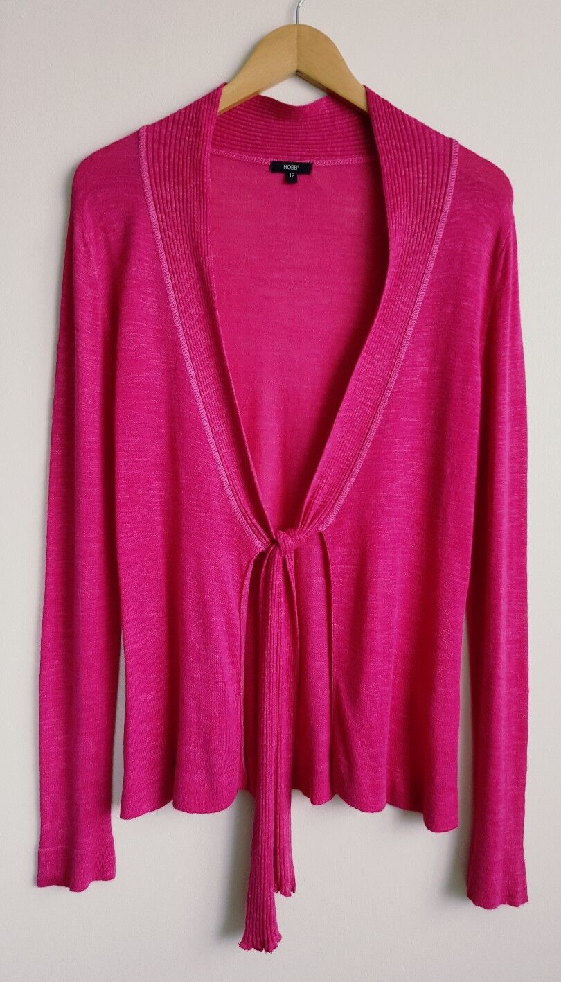HOBBS LADIES PINK LINEN BLEND CARDIGAN SIZE 12