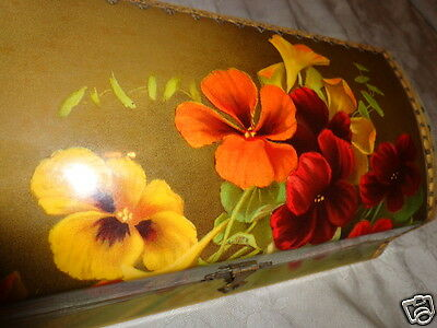 RARE ANTIQUE VICTORIAN SIGNED LE ROY PANSIES FLORAL CELLULOID DRESSER BOX