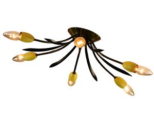 Decken Leuchte 6flammig Ø 51 Gelb & Schwarz Messing Vintage Sputnik Spider 50er