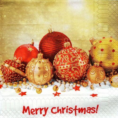 4 Servilletas papel almuerzo único para Decoupage Craft Servilleta Feliz Navidad 1//1
