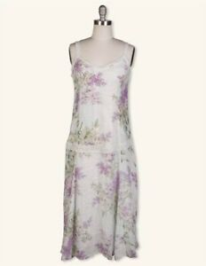 Victorian Trading Co April Cornell Lilac Bouquet Floral Sleeveless Dress LG
