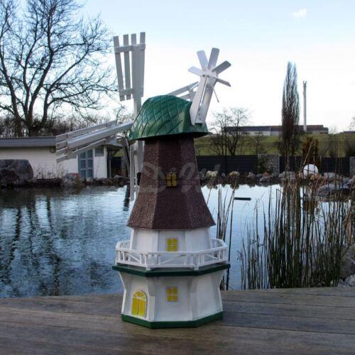 GARTENWINDMÜHLE NANCY 80 cm grün braun weiß Garten Deko Mühle Windrad Windmühle