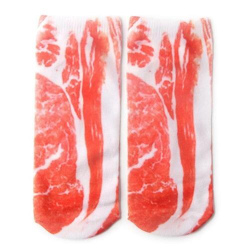 Unisex Cotton Low Cut Ankle Socks Funny 3D Flip-Flops Shoes Pork Print Hosiery