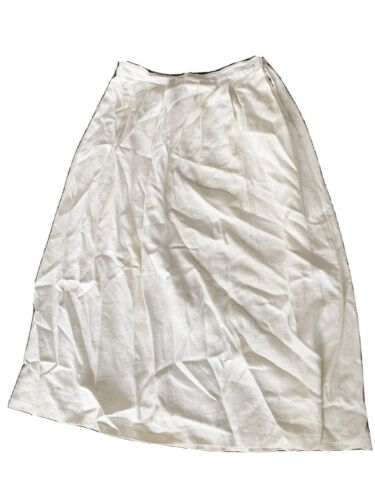 MELODY Rising-Scoop-Hemmed White Linen Mid-Calf-Length Lined Wrap Skirt with Blue Varying-Width Micro Stripes
