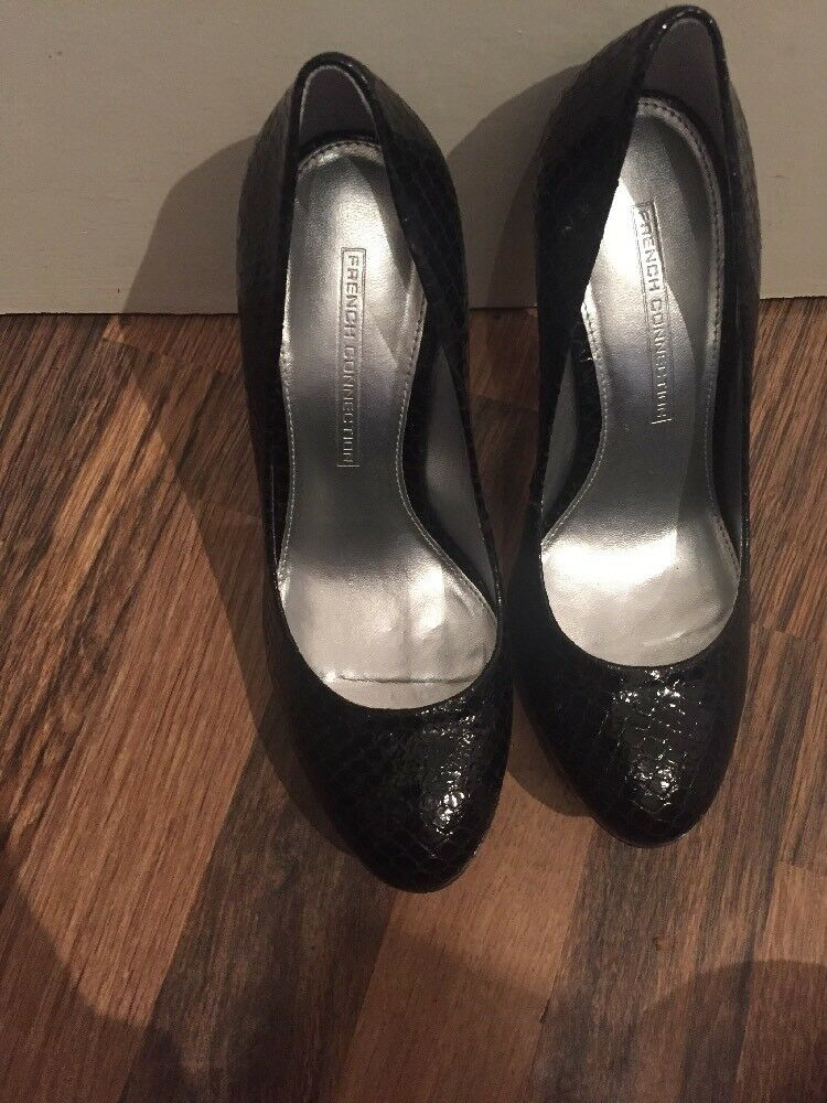 Brand New Black Leather Snakeskin Pattern Court Shoes French Connection Size 5