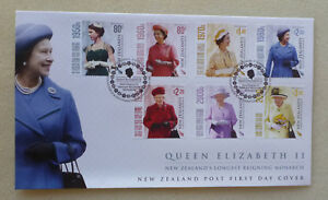 2015-NEW-ZEALAND-QEII-LONGEST-REIGNING-MONARCH-SET-7-STAMPS-FIRST-DAY-COVER